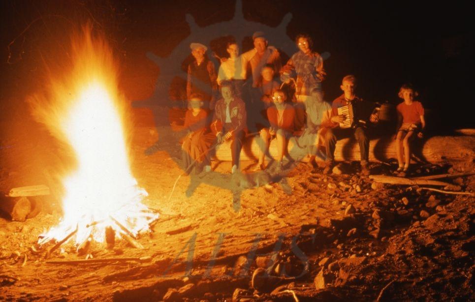 2016.012.7.22 Beach bonfire, below store, May 1958 | Arrow ...