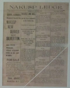 The 1st issue of Nakusp Ledge, on display in our archives.