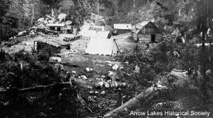 Original Hot Springs buildings before 1920. Hot pool on left. Main pool - large log building.