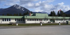 Nakusp Secondary School (opened 1957, renovated 1984, seen here in 2010)