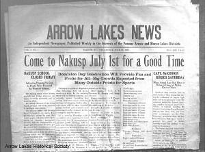 Arrow Lakes News, Vol. 1, No. 1