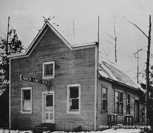 Old Arrow Lakes News building, 1924