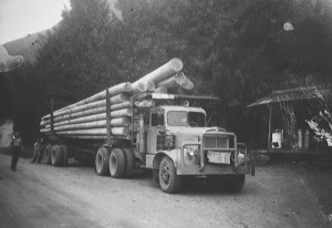 First load of poles to go to Nakusp from Beaton over the Galena Pass in August 1965. The truck driver was Red Bone.