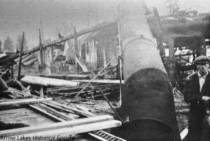 The remains of the White Pine Lbr. Co. mill after fire in 1929.